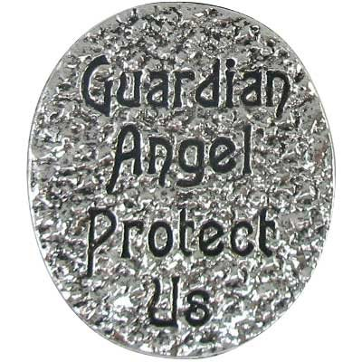 Guardian Angel Protect Us Pocket Coin stone silver