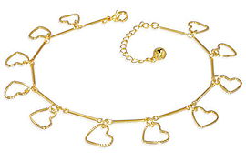 Gold Love Heart Bracelet or Anklet & Extender
