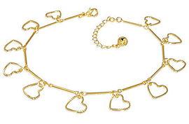 Gold Plated Love Heart Bracelet or Anklet & Extender