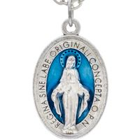 Miraculous Medal Necklace Blue Enamel