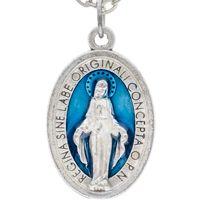 Miraculous Medal Necklace Blue Enamel