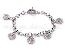 St Benedict Bracelet w/ Medals  and Cross, Stainless Steel