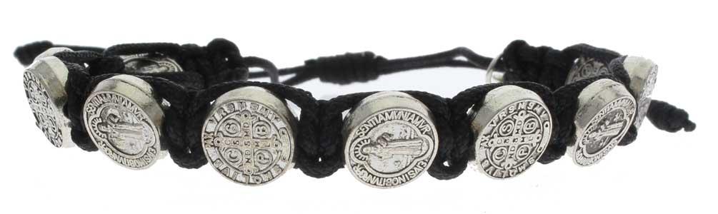 St Benedict Bracelet Oxidized Medals & Crucifix