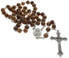 Olive Wood Rosary Olive Wood Box w Relic