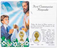 Boys Communion Holy Card with Medal