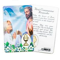 Girl's Communion Holy Card with Medal