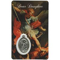 Daughter St. Michael Holy Card with Medal