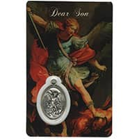 Son St. Michaels Holy Card Laminated Medal