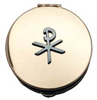 Chi-Rho Gold Stamped Pyx With Pewter Motif