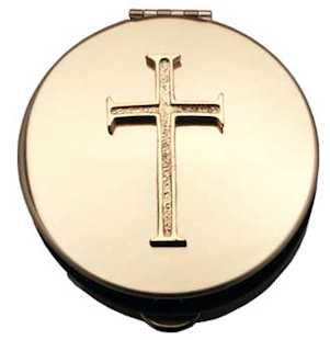 Latin Cross Gold Stamped Pyx With Gold Motif