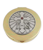 IHS & Cross Gold Stamped Pyx With Pewter Motif And Red Stone