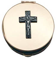 Crucifix Gold Stamped Pyx With Pewter Motif
