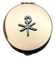 Chi-Rho Gold Stamped Pyx w/ Pewter Symbol Box