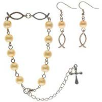 Jesus Fish Pearl Rosary and Earring Set