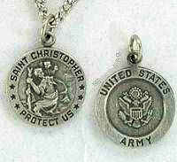Saint Christopher Army Medal Necklace