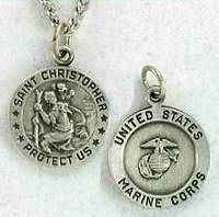 Saint Christopher Marine Corps Medal Necklace