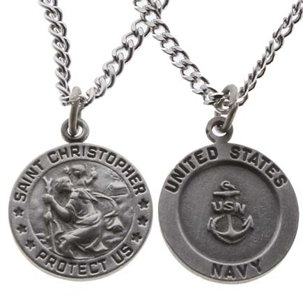 Saint Christopher Navy Medal Necklace