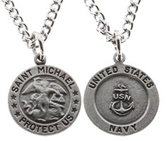Saint Michael Navy Medal Necklace