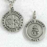 Saint Michael Navy Medal Necklace