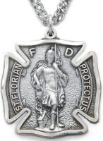 Firefighter Saint Florian Maltese Cross Necklace