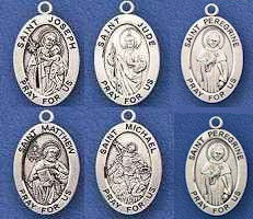 Patron Saints Sterling Silver Medals Necklace Catholic