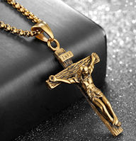 Antique Gold Stainless Crucifix Pendant Necklace