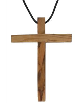 Large Olive Wood Cross Necklace 4 Inch
