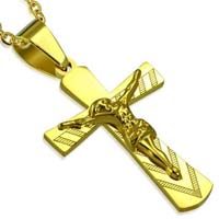 Gold Stainless Steel Crucifix Pendant & Chain