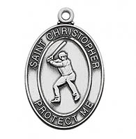 St. Christopher Boy's Baseball Necklace Pewter