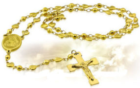 Stainless Steel Heart Gold Rosary