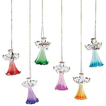 glass angel christmas ornaments box of 12