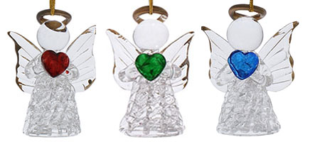 Glass Christmas Angels Ornaments Set of 3