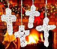 Crocheted Lace Christmas Crosses Ornaments - Pack of 12