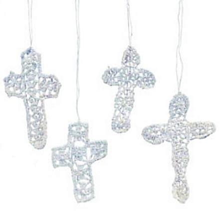 Crocheted Lace Christmas Crosses Ornaments (Pkg of 12)