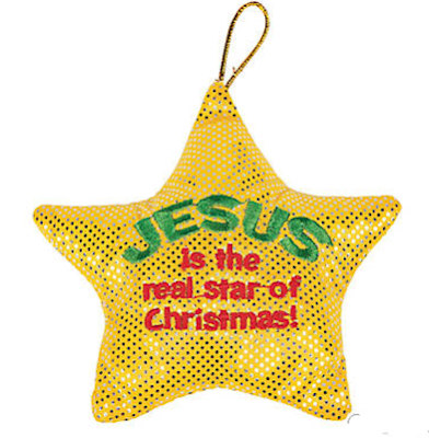12 Jesus is a Star, Christmas Glittering Plush Stars
