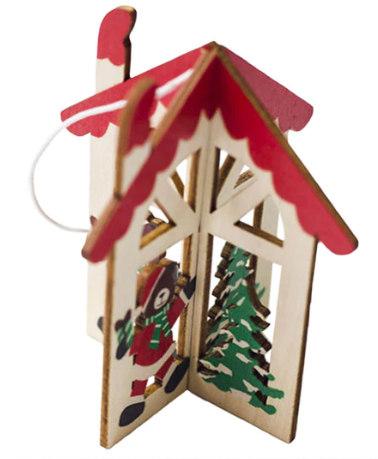 House Bear Wood Christmas Tree Ornaments
