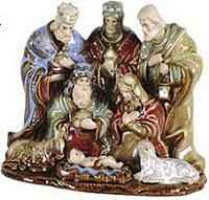 Ceramic Nativity Holy Family and 3 Kings Figurine