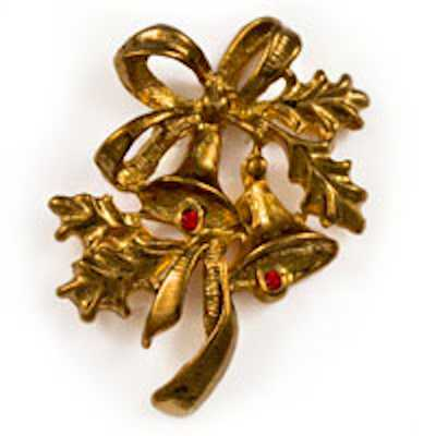Christmas Bells With Holly Gold Pin