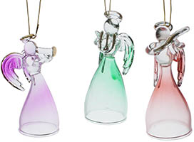 3 Glass Christmas Angels Ornaments