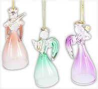 3 Glass Angels Ornaments