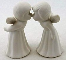 2 Kissing White Porcelain Angel Figurines
