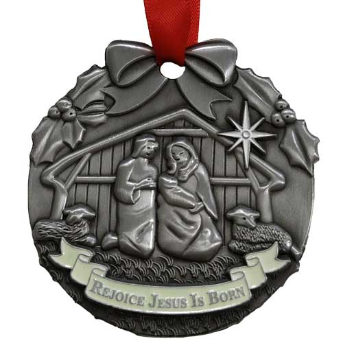 Rejoice Jesus is Born Christmas Ornament Pewter
