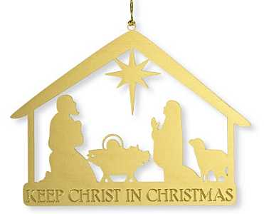 Keep Christ in Christmas Nativity Golden  Ornament