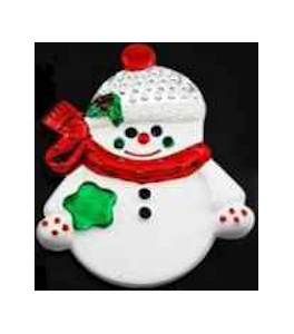 Snowman Brooch White Coat Pin