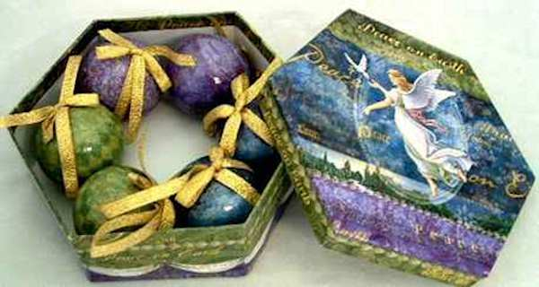 Christmas Ornaments Paper Mache Gifts (Pkg of 6)
