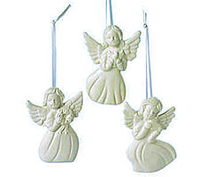 3 Angel Ornaments White Resin -Assorted