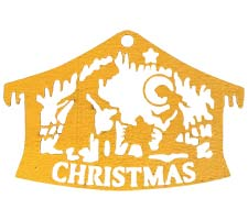 Wood Nativity Ornaments - Manger Ornaments