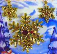 Flashing Snowflake Pin and Earrings