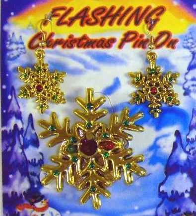 Flashing Snowflake Pin and Earrings