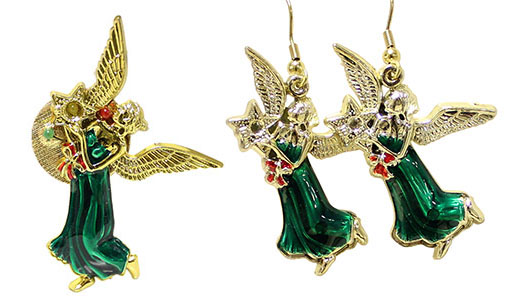 Flashing Angel Pin & Earrings Set